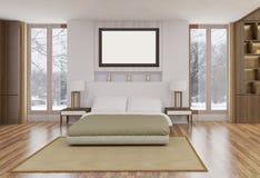 El estilo minimalista y escandinavo con el interior acogedor del dormitorio y 3d rinde Imagen de archivo libre de regalías
