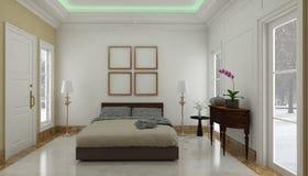 El estilo minimalista y escandinavo con el interior acogedor del dormitorio y 3d rinde Fotos de archivo libres de regalías