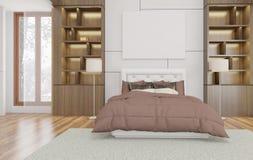 El estilo minimalista y escandinavo con el interior acogedor del dormitorio y 3d rinde stock de ilustración