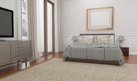 El estilo minimalista y escandinavo con el interior acogedor del dormitorio y 3d rinde Foto de archivo libre de regalías