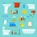 El estilo plano del cuarto de baño y del retrete vector los iconos aislados en fondo Foto de archivo libre de regalías