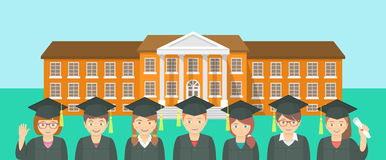 El estilo plano embroma la graduación y la construcción de escuelas stock de ilustración