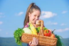 El estilo r?stico del ni?o de la muchacha con el ni?o de la cosecha de la ca?da alegre celebra la cesta de las verduras del d?a d imagen de archivo