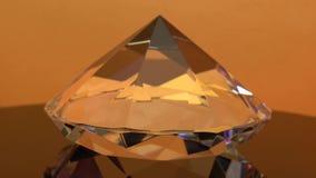 El estimado diamante es de giro y que riela de puntos culminantes anaranjados Fondo anaranjado metrajes