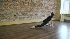 El estirar de la muchacha de la flexibilidad del gimnasta de la aptitud del deporte almacen de video