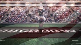 El estratega que salta para coger la bola en un estadio de fútbol americano libre illustration
