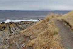El Estrecho de Magallanes en el día lluvioso nublado, rastro a lo largo de la orilla pedregosa con la hierba amarilla seca Patago Imagenes de archivo