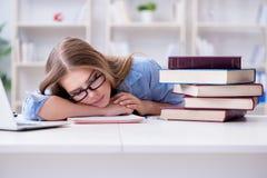El estudiante adolescente joven que se prepara para los exámenes en casa Foto de archivo