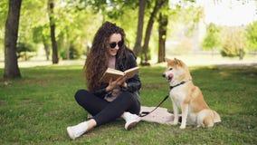 El estudiante alegre es libro de lectura en el parque que se sienta en césped y el perro hermoso de caricia, animal doméstico est almacen de video