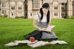 El estudiante bastante chino lee los libros en el parque Fotografía de archivo