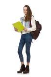 El estudiante bonito que sostiene los libros de texto aislados en blanco Fotografía de archivo