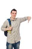 El estudiante caucásico sonriente con la mochila aislada en blanco Imagenes de archivo