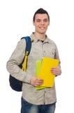 El estudiante caucásico sonriente con la mochila aislada en blanco Fotografía de archivo
