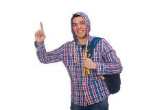 El estudiante caucásico sonriente con la mochila aislada en blanco Fotografía de archivo libre de regalías
