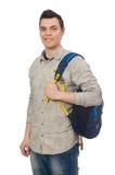 El estudiante caucásico sonriente con la mochila aislada en blanco Fotos de archivo