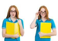 El estudiante con las notas aisladas en blanco fotos de archivo