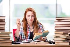 El estudiante con las pilas de libros que se preparan para los exámenes Fotografía de archivo libre de regalías