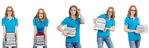 El estudiante con muchos libros aislados en blanco imagenes de archivo