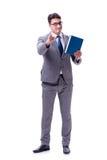 El estudiante del hombre de negocios que lee un libro aislado en el fondo blanco Foto de archivo
