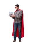 El estudiante del superhéroe con los libros aislados en blanco Foto de archivo libre de regalías