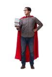 El estudiante del superhéroe con los libros aislados en blanco Fotografía de archivo libre de regalías