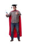 El estudiante del superhéroe con los libros aislados en blanco Imágenes de archivo libres de regalías
