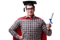 El estudiante del superhéroe con los libros aislados en blanco Imagen de archivo