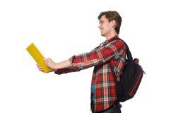 El estudiante divertido aislado en blanco Imágenes de archivo libres de regalías