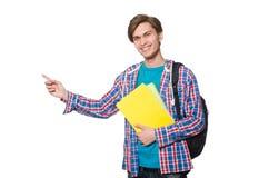 El estudiante divertido aislado en blanco Imagenes de archivo