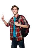 El estudiante divertido aislado en blanco Imagen de archivo
