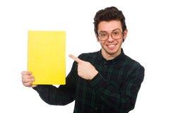 El estudiante divertido aislado en el blanco Imagen de archivo