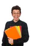 El estudiante divertido aislado en el blanco Fotografía de archivo libre de regalías