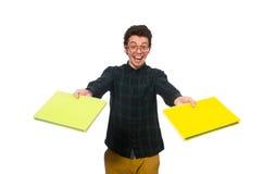 El estudiante divertido aislado en el blanco Foto de archivo