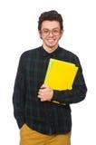 El estudiante divertido aislado en el blanco Foto de archivo libre de regalías