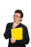El estudiante divertido aislado en el blanco Fotografía de archivo