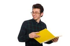 El estudiante divertido aislado en el blanco Imagenes de archivo