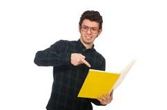 El estudiante divertido aislado en el blanco Fotos de archivo