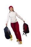 El estudiante divertido con la mochila aislada en blanco Fotografía de archivo
