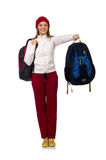 El estudiante divertido con la mochila aislada en blanco Imagen de archivo libre de regalías