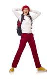 El estudiante divertido con la mochila aislada en blanco Fotos de archivo