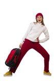 El estudiante divertido con la mochila aislada en blanco Fotos de archivo libres de regalías