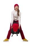 El estudiante divertido con la mochila aislada en blanco Fotografía de archivo libre de regalías