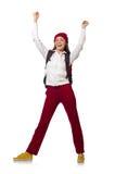 El estudiante divertido con la mochila aislada en blanco Imagenes de archivo