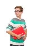 El estudiante divertido con los libros aislados en blanco Imagen de archivo libre de regalías