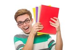 El estudiante divertido con los libros aislados en blanco Fotografía de archivo