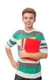 El estudiante divertido con los libros aislados en blanco Imagenes de archivo