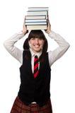 El estudiante divertido del empollón aislado en blanco Fotos de archivo