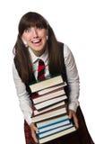 El estudiante divertido del empollón aislado en blanco Imagen de archivo libre de regalías