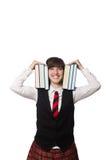 El estudiante divertido del empollón aislado en blanco Fotografía de archivo libre de regalías