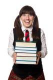 El estudiante divertido del empollón aislado en blanco Foto de archivo libre de regalías